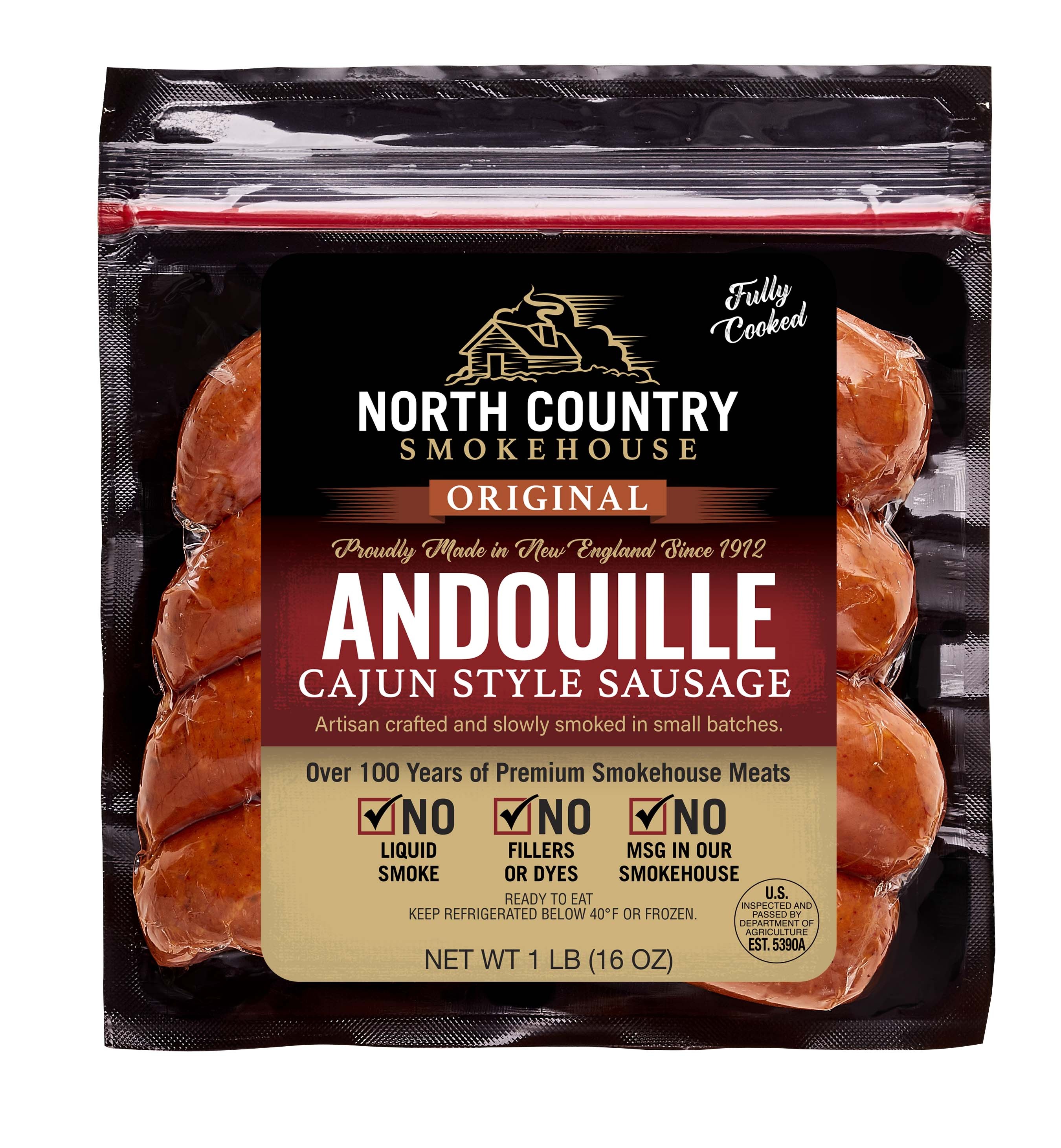 Original Andouille Cajun Style Sausage- 3, 1 lb. packages