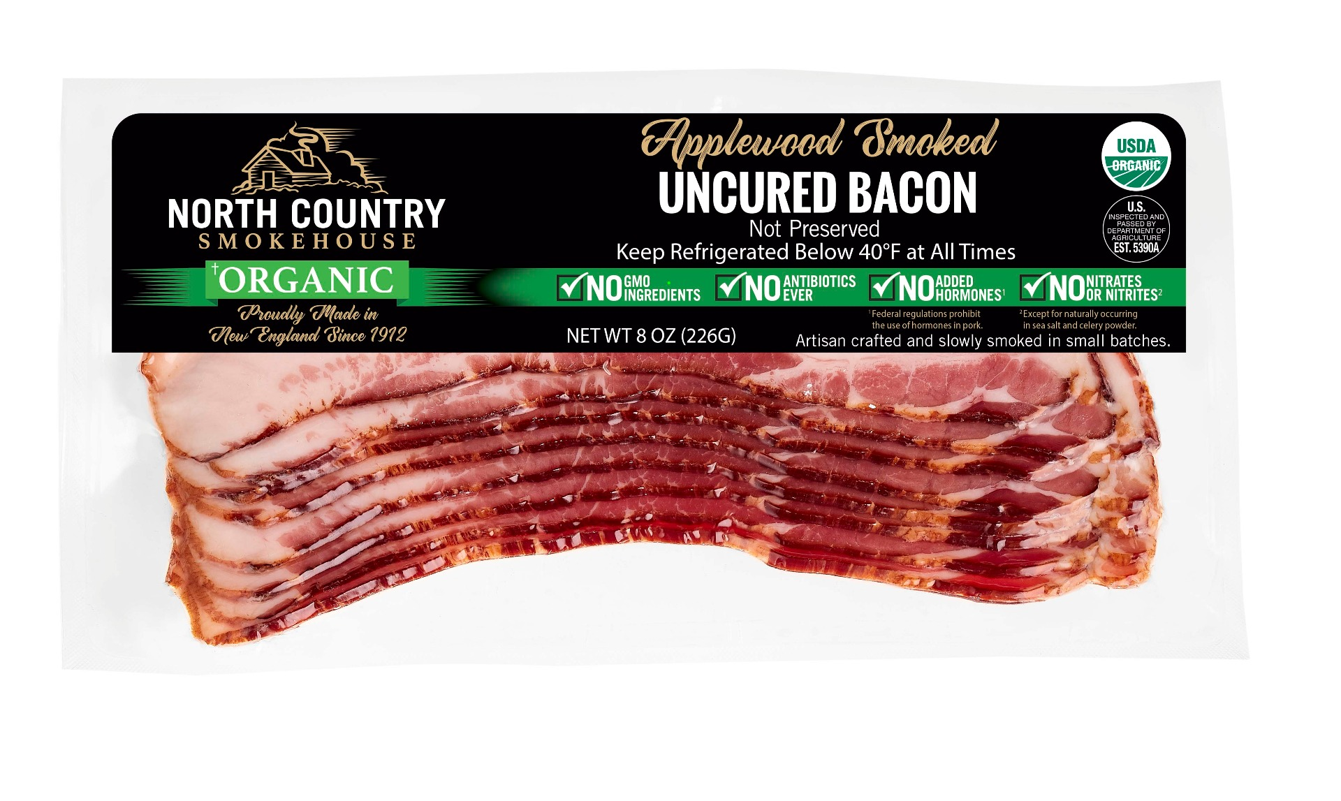 Organic Applewood Smoked Bacon- 2, 8oz. packages