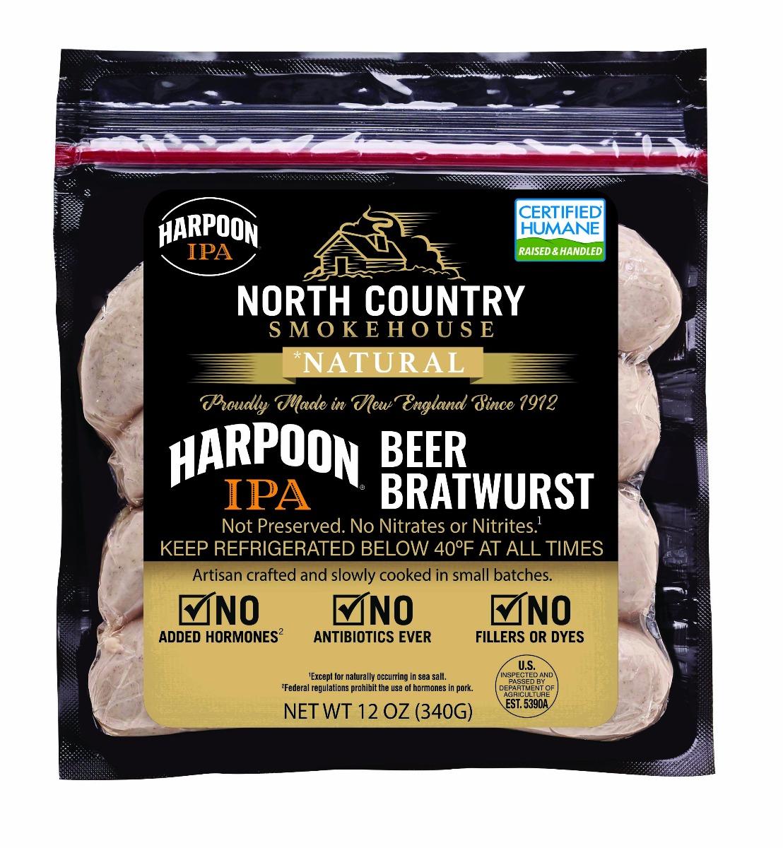 Natural Harpoon IPA Beer Bratwurst Sausage - 3, 12 oz. packages
