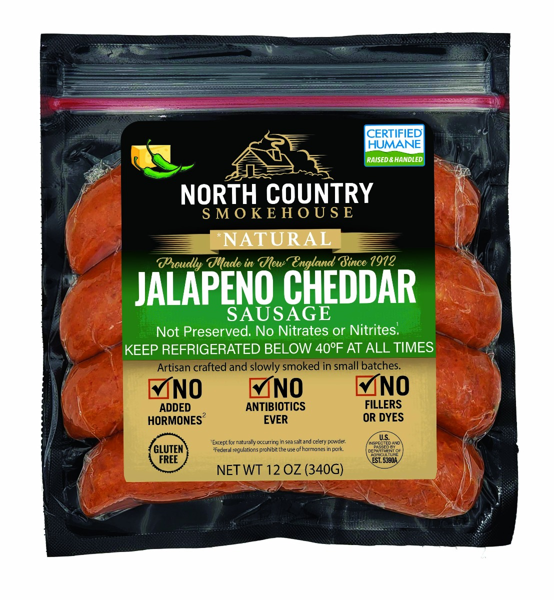 Natural Jalapeno Cheddar Sausage - 3, 12 oz. packages