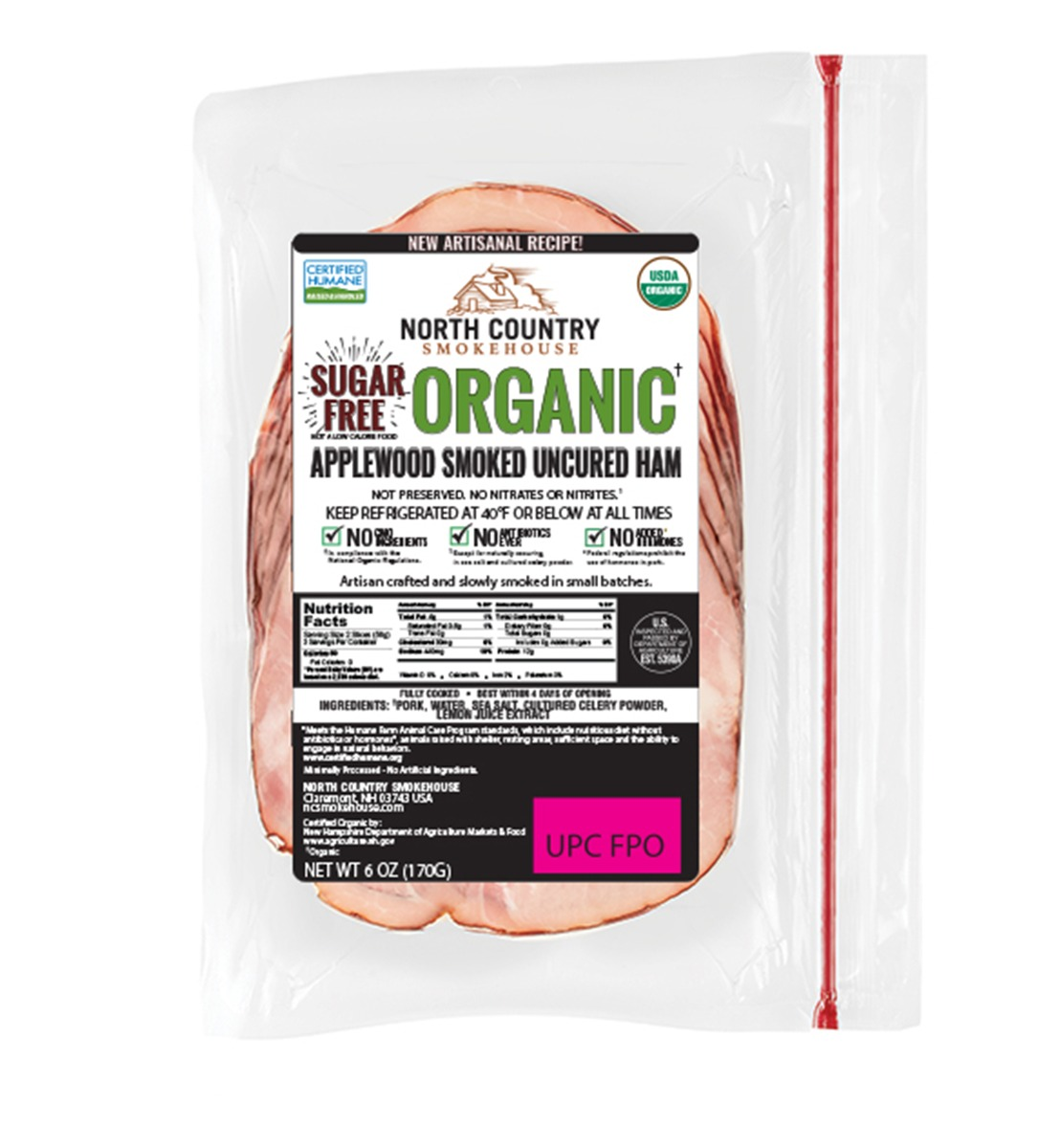 Organic Sugar Free Uncured Deli Ham - 3, 6 oz. packages