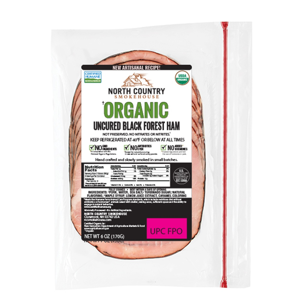 Organic Black Forest Deli Ham - 3, 6 oz. packages