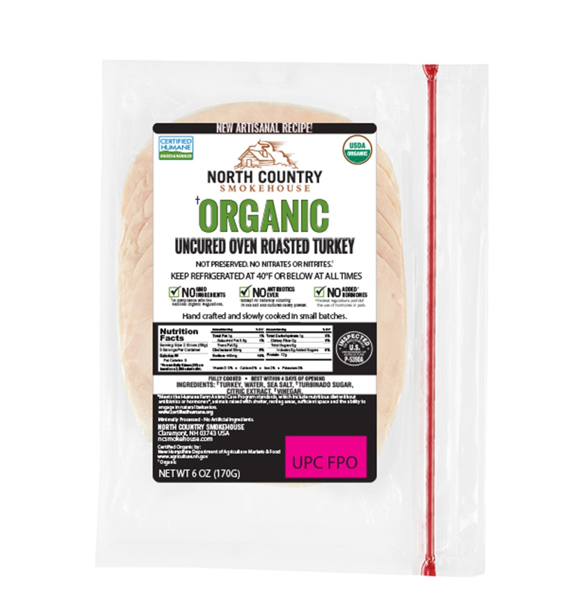 Organic Oven Roasted Deli Turkey - 3, 6 oz. packages
