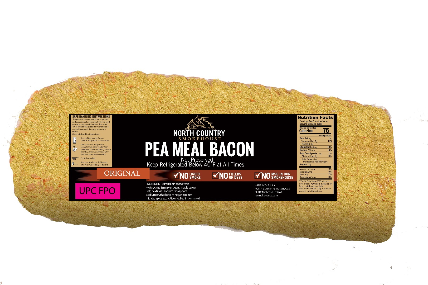 Original Pea Meal Bacon -  1, 3-4 lb. package