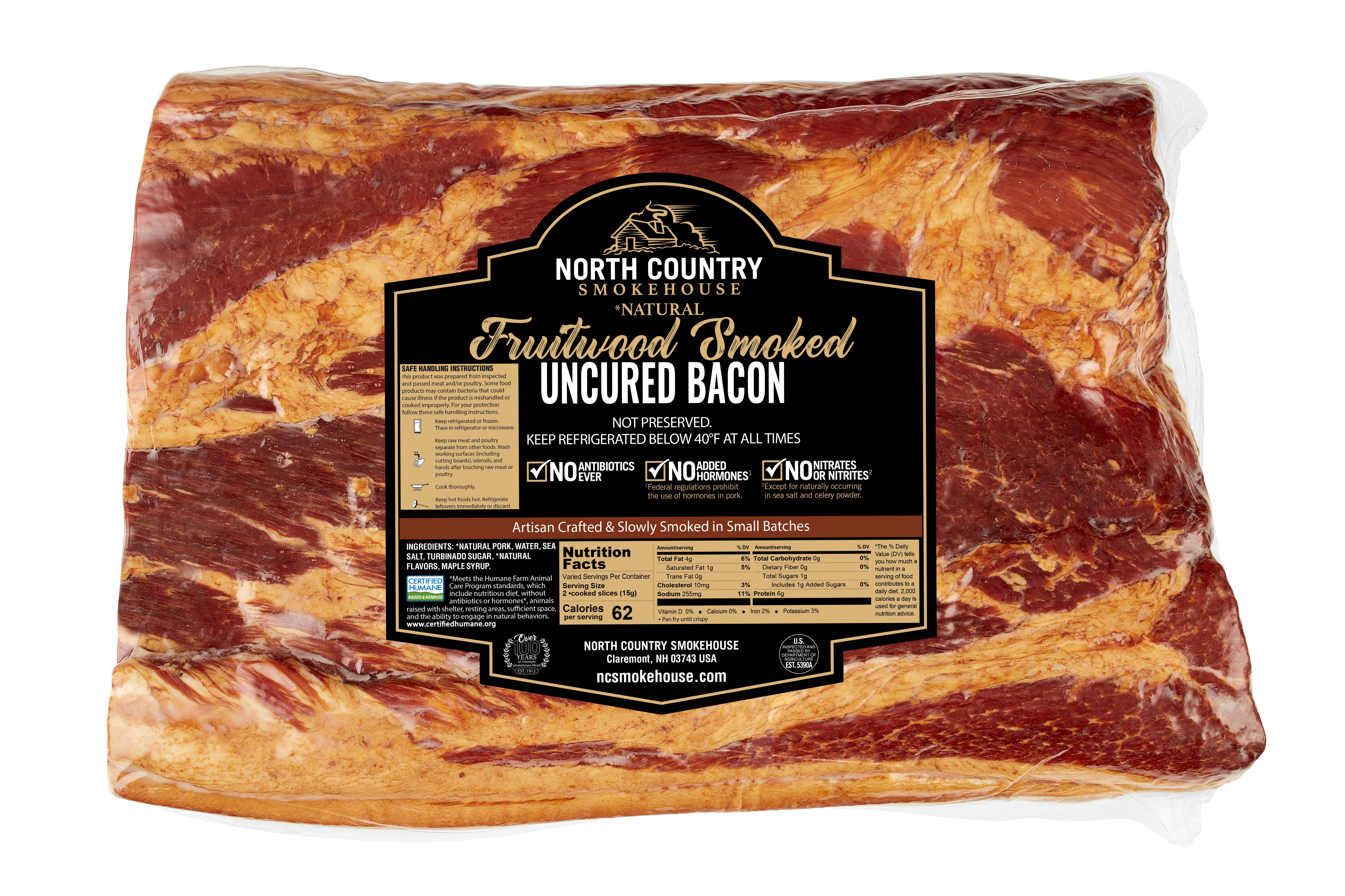 Natural Fruitwood Smoked Slab Bacon - 1, 5-7 lb. package