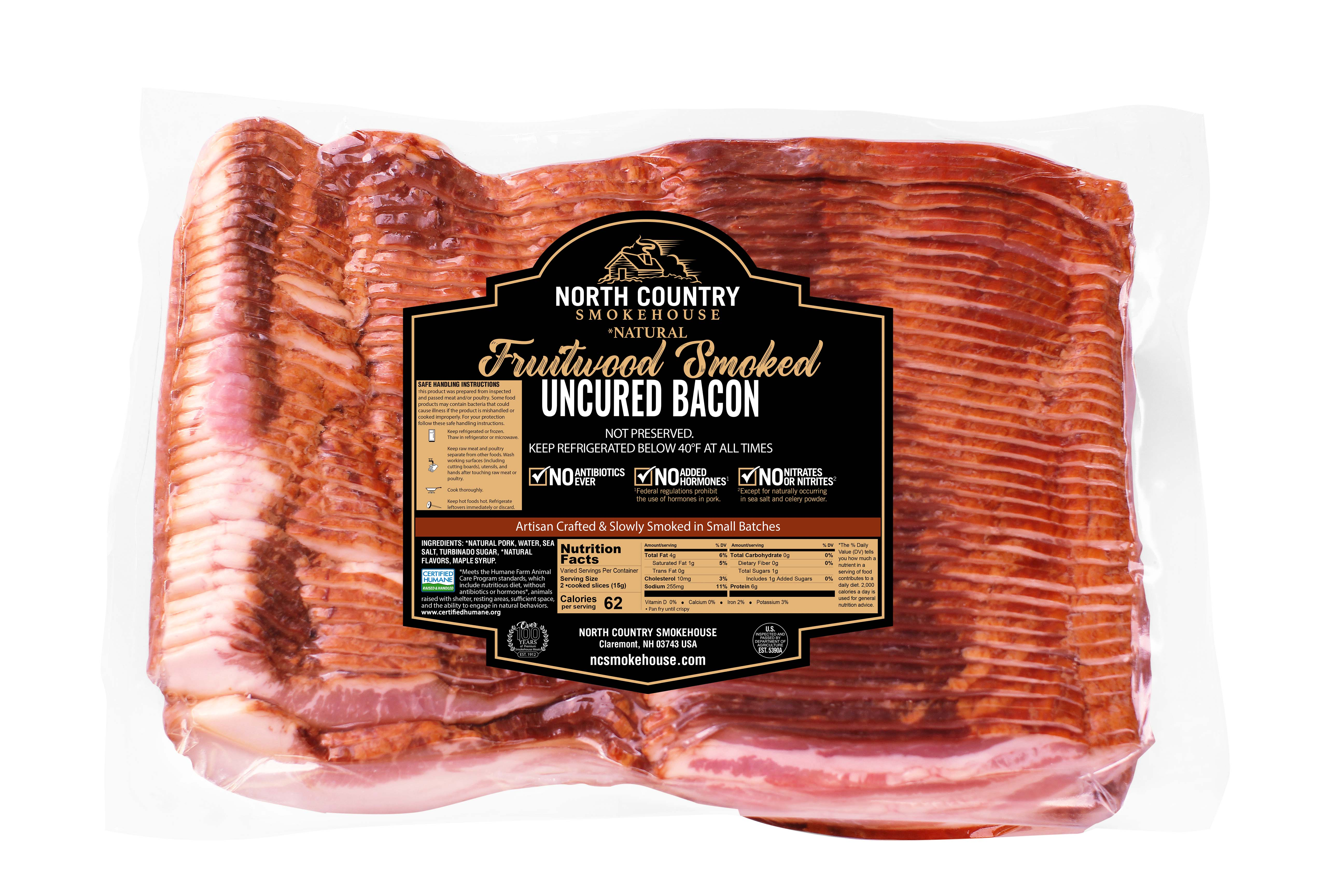Natural Fruitwood Smoked Bacon - 1, 5 lb. package