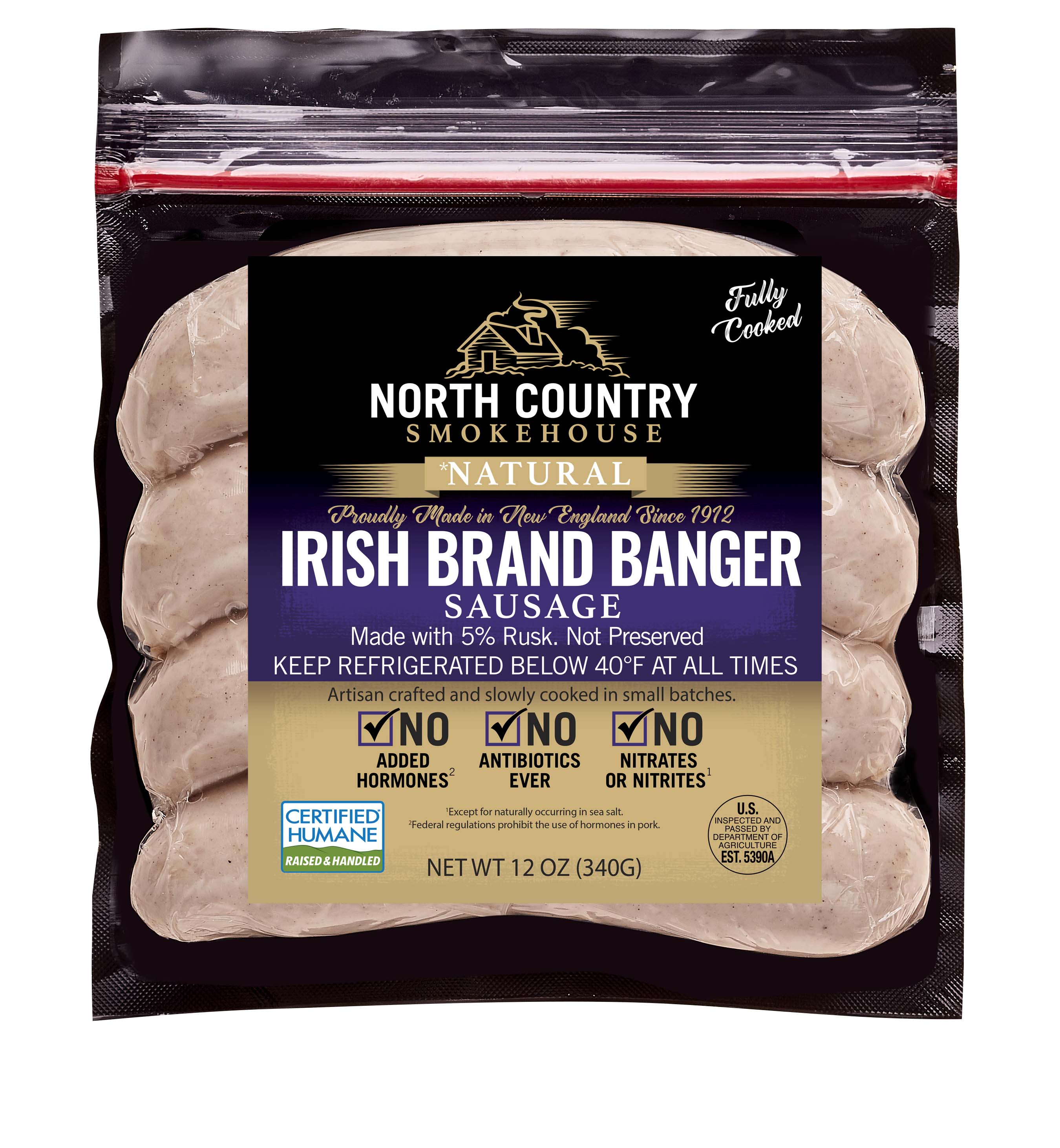 Natural Irish Style Banger Sausage -  3, 12 oz. packages