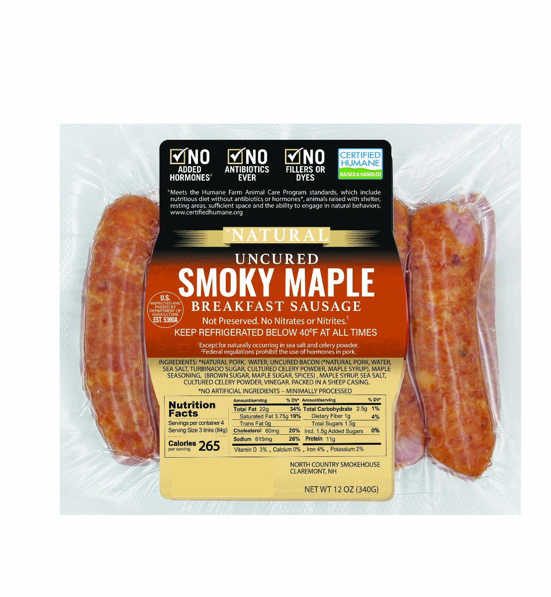 Natural Smoky Maple Breakfast Sausage - 3, 12 oz. packages