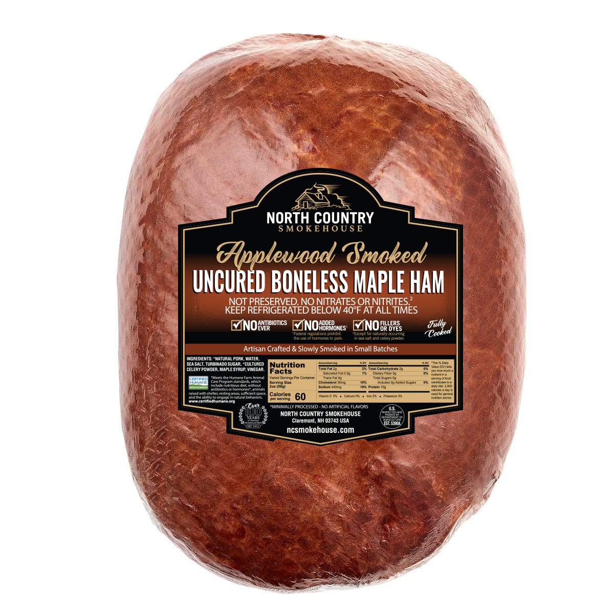 Uncured Boneless Maple Whole Ham - 1, 7-8 lb.